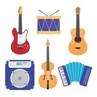 bundle of six musical instruments set icons vector