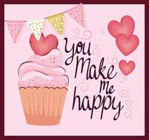 happy valentines day lettering card with cupcake and hearts vector