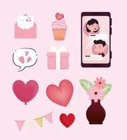 bundle of ten valentines day icons vector