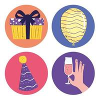bundle of four birthday set icons vector
