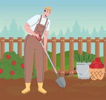 farmer man with shovel in the farm vector
