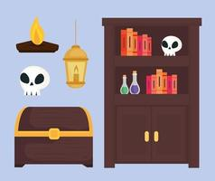 Fairytale magician furniture and icon set vector design