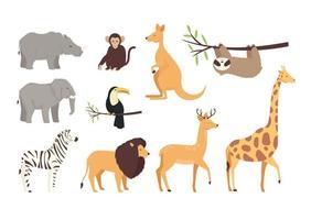 bundle of ten animals wild set icons vector