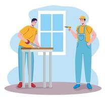 constructores, constructores, hombres, con, serrucho, y, taladro, caracteres vector