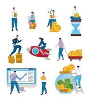business people teamwork and money set icons vector