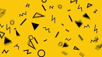 retro abstrakt design gul mönster bakgrund med färgglada trianglar, cirklar, linjer och sicksack. memphis-stil med geometriska former. slinga. video