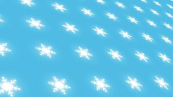 White snowflakes on blue background are changed size with perspective motion. Looping realistic animation. video