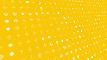 sfondo animato dinamico con cerchi bianchi pulsanti e croci su sfondo giallo sono cambiate dimensioni con movimento prospettico. loop di animazione realistica. video