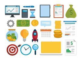 Paquete de veintitrés iconos de conjunto de análisis de ventas y finanzas vector