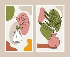 boho style two leafs plants in ceramic vases vector
