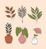 bundle of six boho style leafs plants decorative icons vector