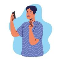young man using smartphone taking a selfie vector