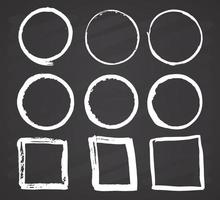 Round Frames and text boxes, grunge textured hand drawn elements set, vector illustration