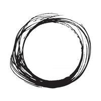 Round Frame, grunge textured hand drawn element, vector illustration