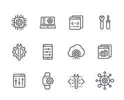 Desarrollo, servicio de configuración, ingeniería, iconos de línea de configuración establecidos en blanco vector