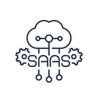 Saas icon, Software as a service line icon with a cloud vector