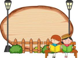 Blank wooden board in oval shape with kids doodle cartoon character vector