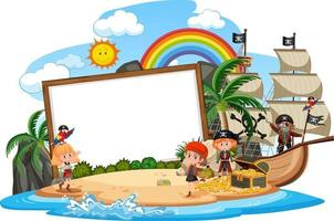 Many pirate kids on the island with blank banner template isolated vector