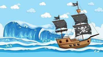 Ocean with Pirate ship at day time scene in cartoon style vector