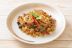 Basil and Spicy Herb Fried Rice with Squid or Octopus photo