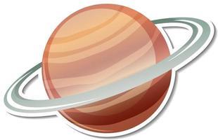 Plantilla de pegatina con planeta Saturno aislado vector
