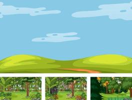 Set of different nature horizontal scene with various wild animals vector