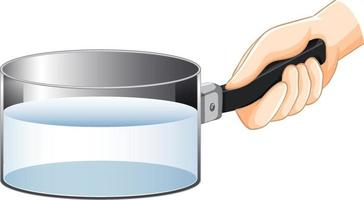 Hand holding saucepan with water vector