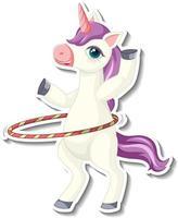 Cute unicorn stickers with a unicorn playing hula hoop cartoon character vector