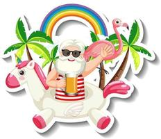A sticker template with an old man in summer theme vector