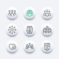 charity, donation line icons set vector