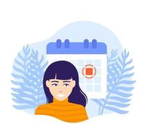 set a deadline vector illustration with a woman