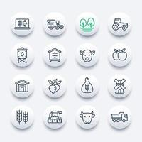farming and agriculture line icons set vector