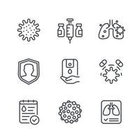 virus, covid 19 or coronavirus line icons set vector