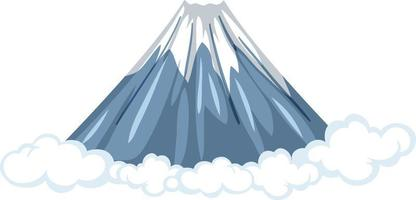 Mount Fuji with cloud in cartoon style isolated on white background vector