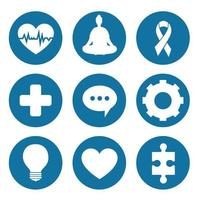 mental health set icons vector design