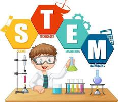 STEM education logo with scientist kid cartoon character vector