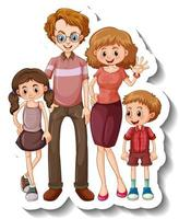 A sticker template with small family members cartoon character vector