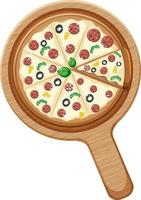 A whole pizza with pepperoni topping on wooden plate isolated vector