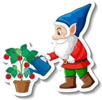 A sticker template with garden gnome or dwarf watering plant vector