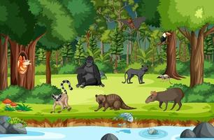 Wild animals with stream flowing through the forest scene vector