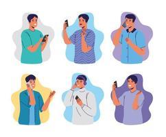 group of men using smartphones characters vector