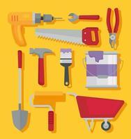 bundle of ten construction tools set icons vector