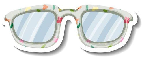 A sticker template with floral pattern on glasses vector