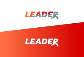 Leader word concept sign for business, lettering design vector illustration with running letter R, victory success symbol