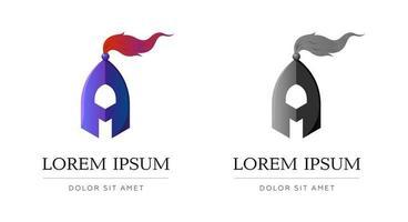 Letra aym am ma estilizado símbolo de casco de caballero de metal azul para su ilustración de vector de identidad de marca comercial