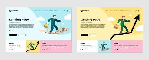 Finance investment concept landing page template set. Businessman with diplomat briefcase flies standing on money banknote. Business man on graph arrow in sky. Flat web site design vector illustration