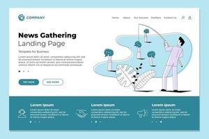 Journalist man fishing users info posts comments and messages. News gathering and article creation website landing page design template. Journalism concept vector illustration