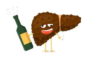 Sick unhealthy ill drunk liver character hold in hand alcohol bottle and cigarette. Human exocrine gland organ destruction concept. Vector destruction addiction injury hepatic illustration