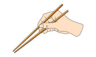 mano sosteniendo palitos de sushi para rollos. Esquema de cómo mantener el uso de la instrucción de posición de los palillos chinos asiáticos japoneses. ilustración vectorial aislado sobre fondo blanco. vector
