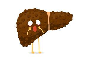 Sick unhealthy cartoon liver character suffers from cirrhosis or hepatitis and suffering pain. Human exocrine gland organ destruction concept. Vector hepatic degenerative mascot illustration